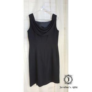 Virgo Black Cowl Back Sheath Dress